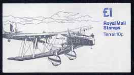 Booklet - Great Britain 1979-81 Military Aircraft #3 (Hawker Fury & HP Heyford) \A31.00 folded booklet with cyl number in margin at left SG FH3A