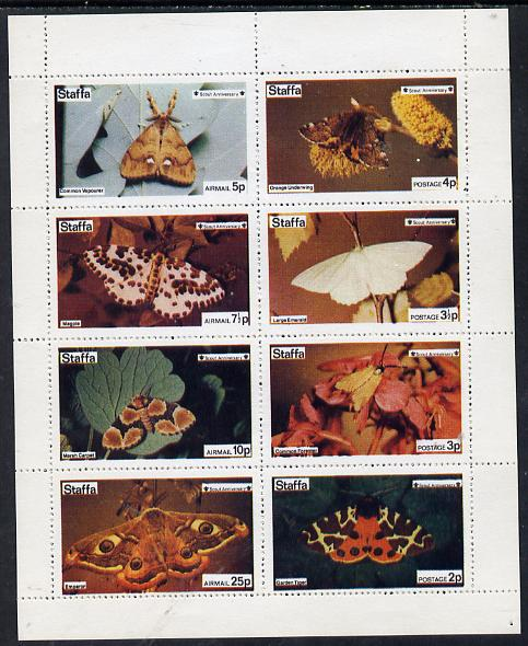 Staffa 1974 Butterflies & Scout Anniversary (Garden Tiger, Forester, Emerald, Underwing, Emperor, Marsh Carpet, Magpie & Vapourer) perf  set of 8 values (2p to 25p) unmounted mint