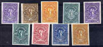 El Salvador 1890 imperf set of 9 colour trial proofs without gum as SG 30-38