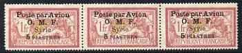 Syria 1922 5p on 1p strip of 3 unused (no gum) SG91