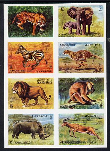 Ajman 1972 Animals imperf set of 8 unmounted mint, Mi 1304-11B