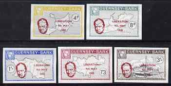 Guernsey - Sark 1965 20th Anniversary of Liberation imperf set of 5 without gum, Rosen CSA 41a-45a