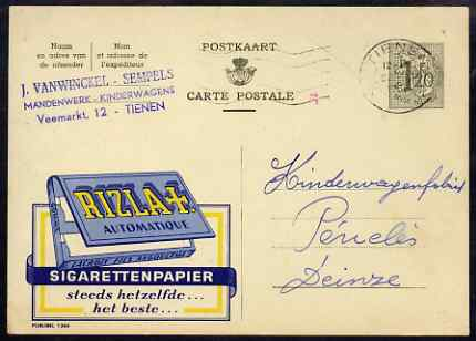 Belgium 1956 illustrated card advertising Rizla cigarette papers