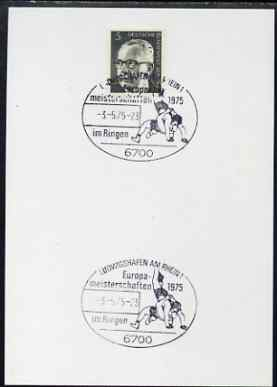 Postmark - West Germany 1975 postcard bearing 5pfg stamp with special illustrated cancellation for European Wrestling Championships