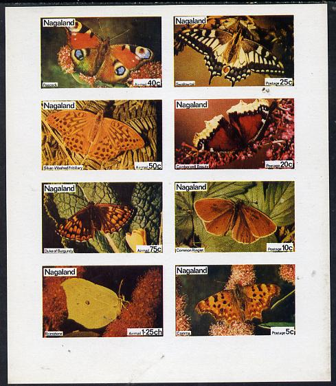 Nagaland 1974 Butterflies (Comma, Ringlet, Camberwell Beauty, Swallowtail, Brimstone, Duke of Burgundy, Fritillary & Peacock) imperf  set of 8 values (5c to 1.25ch) unmounted mint