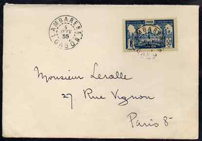 Gabon 1935 commercial cover to Paris bearing 50c view tied Lambarene