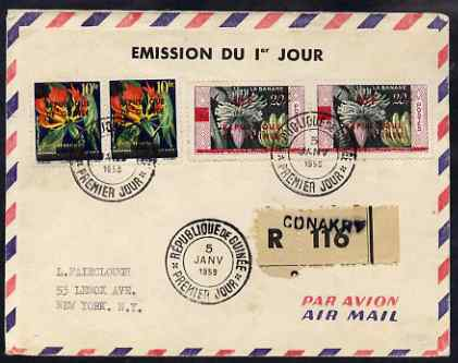 Guinea - Conakry reg airmail cover to New York bearing set of 2 Republic overprints in pairs with first day cancels