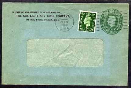 Great Britain 1940 1/2d KG6 printed window envelope uprated to 1d from Gas Light & Coke Company