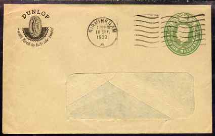 Great Britain 1939 1/2d KG6 printed window envelope from Dunlop Tyres in Birmingham