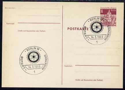 Postmark - West Berlin 1969 8pfg postal stationery card with special cancellation for Rotary Meeting
