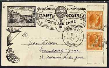 Luxembourg 1927 card bearing 2 x 20c used on last day of International Stamp Exhibition