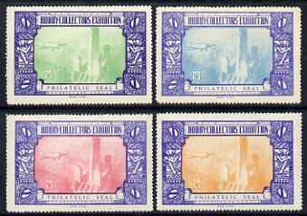 Cinderella - United States 1934 New York Hobby Collectos' Exhibition set of 4 perf labels mounted mint