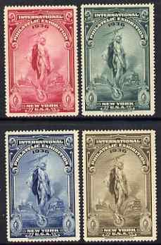 Cinderella - United States 1936 International Philatelic Exhibition set of 4 perf labels unmounted mint