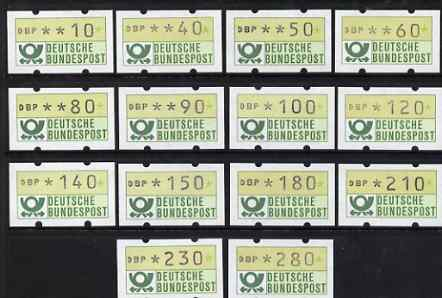 Cinderella - Germany West 1981 Framas the complete original set of 14 machine labels (10pf to 280of) unmounted mint