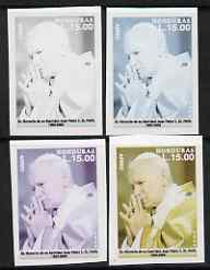 Honduras 2005 The Pope 15L set of 4 imperf progressive proofs comprising single colour (black), 2-colour, 3-colour and completed all 4-colour composite, unmounted mint
