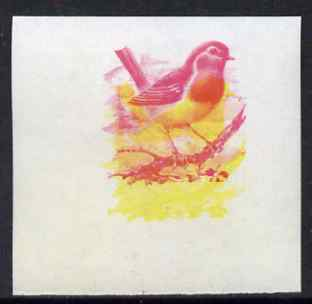 Calf of Man 1973 Birds - Robin 10m imperf proof in magenta & yellow only, the two colours out of register, on gummed paper, unmounted mint as Rosen CA257