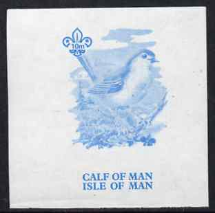 Calf of Man 1973 Birds - Robin 10m imperf proof in blue only on gummed paper (minor wrinkles), unmounted mint as Rosen CA257