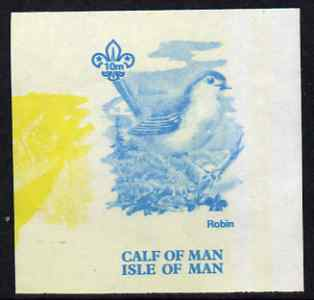 Calf of Man 1973 Birds - Robin 10m imperf proof in blue only (plus yellow inverted from another value) on gummed paper, unmounted mint as Rosen CA257