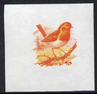 Calf of Man 1973 Birds - Robin 10m imperf proof in magenta & yellow only on gummed paper, unmounted mint as Rosen CA257