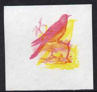 Calf of Man 1973 Birds - Cuckoo 12m imperf proof in magenta & yellow only, the two colours out of register, on gummed paper, unmounted mint as Rosen CA258