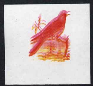 Calf of Man 1973 Birds - Cuckoo 12m imperf proof in magenta & yellow only, the magenta being doubled, on gummed paper, unmounted mint as Rosen CA258