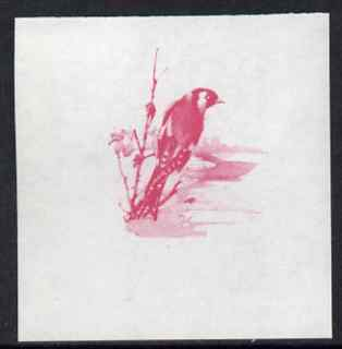 Calf of Man 1973 Birds - Goldfinch 45m imperf proof in magenta only on gummed paper, unmounted mint as Rosen CA265