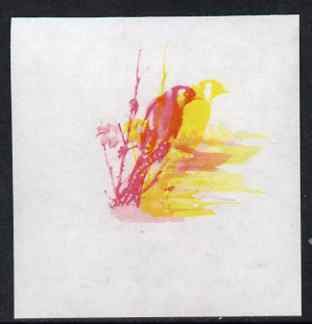 Calf of Man 1973 Birds - Goldfinch 45m imperf proof in magenta & yellow only, the two colours out of register, on gummed paper, unmounted mint as Rosen CA265
