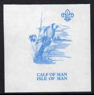 Calf of Man 1973 Birds - Goldfinch 45m imperf proof in blue only on gummed paper (minor wrinkles), unmounted mint as Rosen CA265