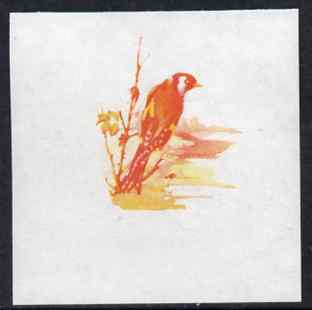 Calf of Man 1973 Birds - Goldfinch 45m imperf proof in magenta & yellow only on gummed paper, unmounted mint as Rosen CA265