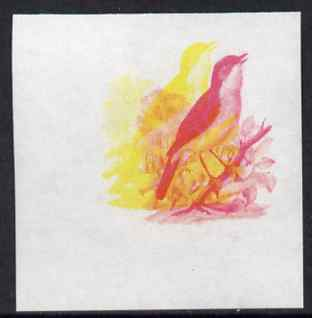 Calf of Man 1973 Birds - Nightingale 50m imperf proof in magenta & yellow only, the two colours out of register, on gummed paper, unmounted mint as Rosen CA266