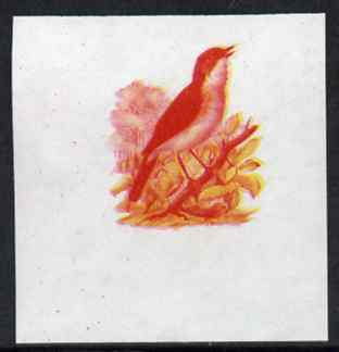 Calf of Man 1973 Birds - Nightingale 50m imperf proof in magenta & yellow only on gummed paper, unmounted mint as Rosen CA266