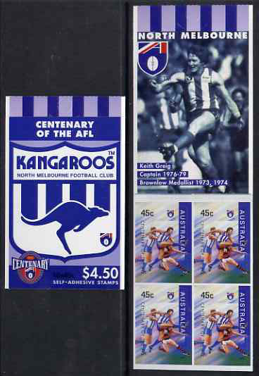 Booklet - Australia 1996 Centenary of Australian Football League $4.50 booklet - North Melbourne Kangaroos, complete and fine SG SB93