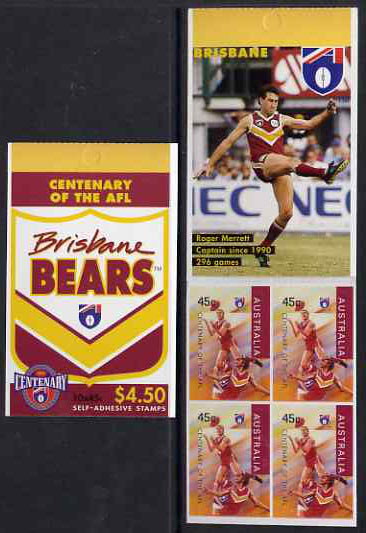 Booklet - Australia 1996 Centenary of Australian Football League $4.50 booklet - Brisbane Bears, complete and fine SG SB94