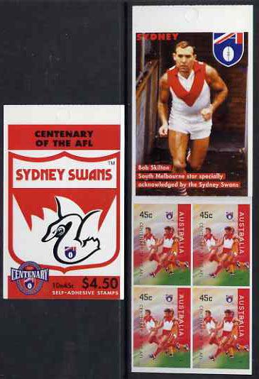 Booklet - Australia 1996 Centenary of Australian Football League $4.50 booklet - Sydney Swans, complete and fine SG SB95