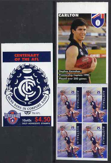Booklet - Australia 1996 Centenary of Australian Football League $4.50 booklet - Carlton Blues, complete and fine SG SB96