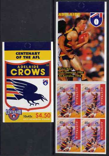 Booklet - Australia 1996 Centenary of Australian Football League $4.50 booklet - Adelaide Crows, complete and fine SG SB97