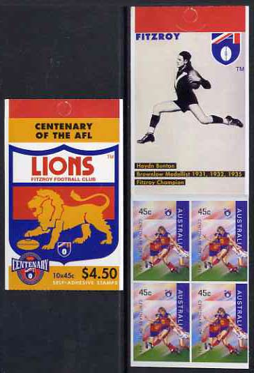 Booklet - Australia 1996 Centenary of Australian Football League $4.50 booklet - Fitzroy Lions, complete and fine SG SB98