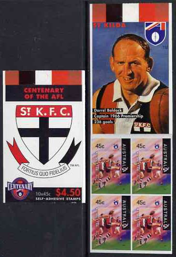 Booklet - Australia 1996 Centenary of Australian Football League $4.50 booklet - St Kilda Saints, complete and fine SG SB100