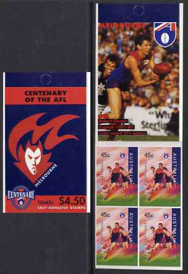 Booklet - Australia 1996 Centenary of Australian Football League $4.50 booklet - Melbourne Demons, complete and fine SG SB101