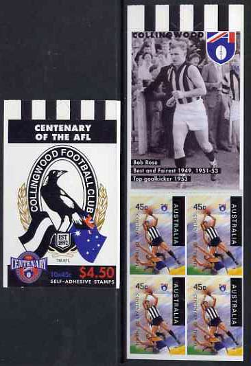 Booklet - Australia 1996 Centenary of Australian Football League $4.50 booklet - Collingwood Magpies, complete and fine SG SB102
