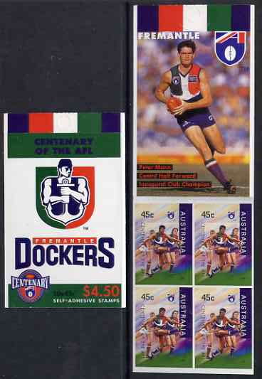 Booklet - Australia 1996 Centenary of Australian Football League $4.50 booklet - Freemantle Dockers, complete and fine SG SB103