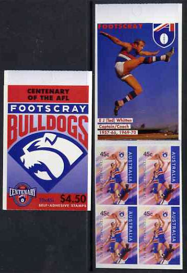 Booklet - Australia 1996 Centenary of Australian Football League $4.50 booklet - Footscray Bulldogs, complete and fine SG SB104