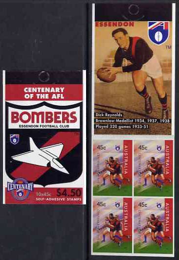 Booklet - Australia 1996 Centenary of Australian Football League $4.50 booklet - Essendon Bombers, complete and fine SG SB106