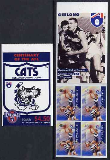 Booklet - Australia 1996 Centenary of Australian Football League $4.50 booklet - Geelong Cats, complete and fine SG SB107