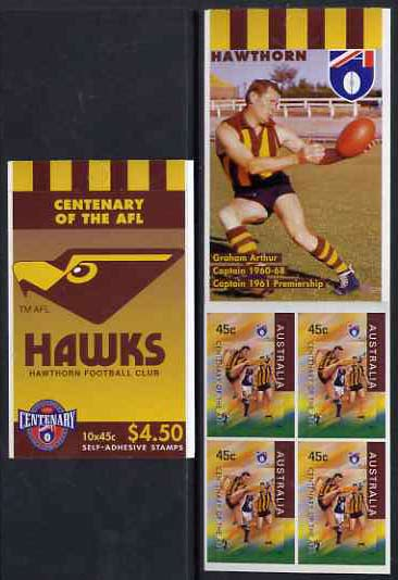Booklet - Australia 1996 Centenary of Australian Football League $4.50 booklet - Hawthorn Hawks, complete and fine SG SB108