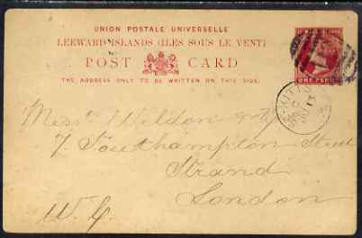 St Kitts 1893 Leeward Islands 1d p/stat card commercially used to London tied by light A12 duplex