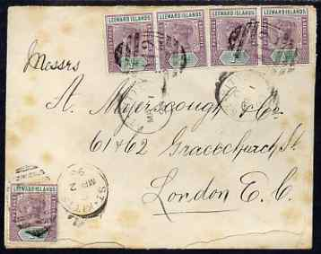 St Kitts 1898 cover to London bearing 5 x QV 1/2d Leeward Islands tied by A12 duplexes which show the inverted * in the year slug, no back stamps, some fpxing and one sta...