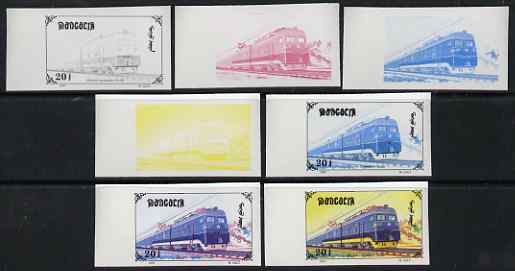 Mongolia 1997 Railway Locomotives 20t Electric Loco LV-80 the set of 7 imperf progressive proofs comprising the 4 individual colours plus 2, 3 and all 4-colour composites unmounted mint, as SG 2589