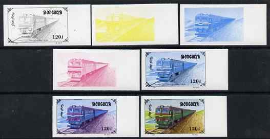 Mongolia 1997 Railway Locomotives 120t Diesel Loco BL-80 the set of 7 imperf progressive proofs comprising the 4 individual colours plus 2, 3 and all 4-colour composites unmounted mint, as SG 2591