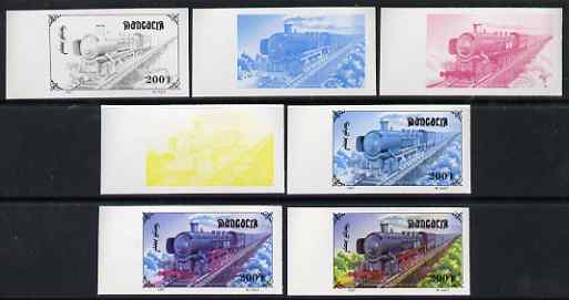 Mongolia 1997 Railway Locomotives 200t Steam Loco the set of 7 imperf progressive proofs comprising the 4 individual colours plus 2, 3 and all 4-colour composites unmounted mint, as SG 2592